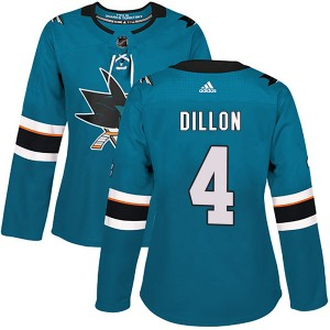 Women's Adidas San Jose Sharks Brenden Dillon Teal Home Jersey - Authentic