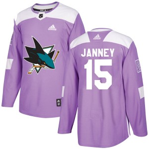 Men's Adidas San Jose Sharks Craig Janney Purple Hockey Fights Cancer Jersey - Authentic